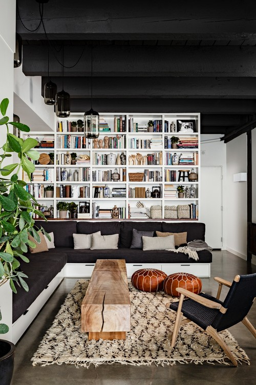houzz leather sofa living room open shelves in features that never go out of style