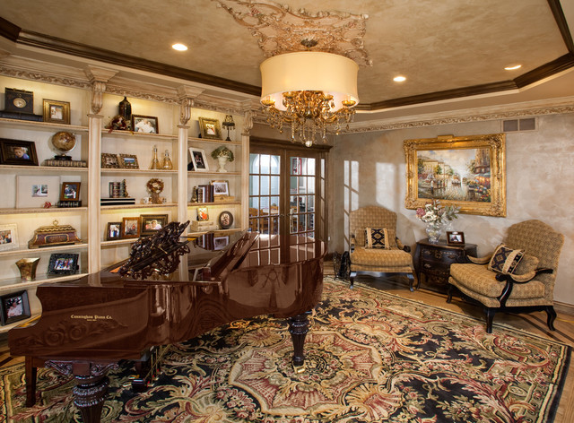 Living room with custommade baby grand piano