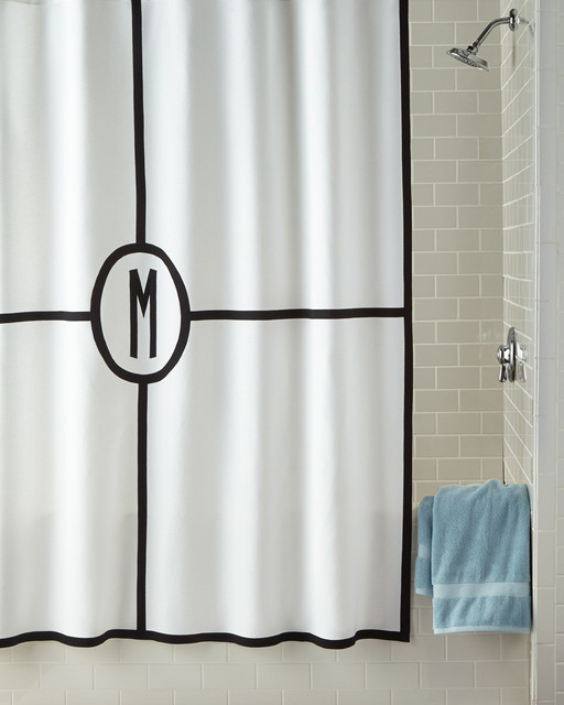Parterre Monogrammed Shower Curtain  WHITESILVER SHOWER