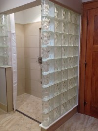 Glass block roll in shower with an accessible design ...