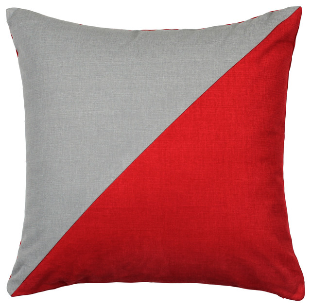Duo Red  Grey Throw Pillow  Modern  Decorative Pillows