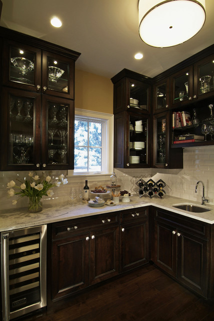 Traditional Dark Wood Kitchen Design with Glass Cabinetry