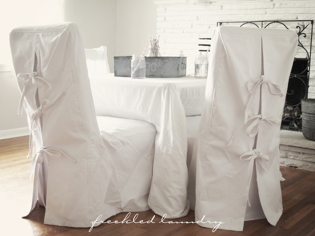 dining room chair covers melbourne picnic table and chairs foldable custom shabby chic parsons dinning in white canvas cotton - contemporary ...