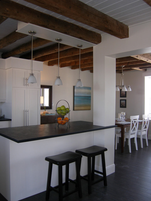 country cottage living room decor grey oak flooring coastal warehouse loft - beach style kitchen other ...