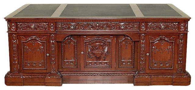 7Ft Wide Mahogany Leather Top Presidential Oval Office