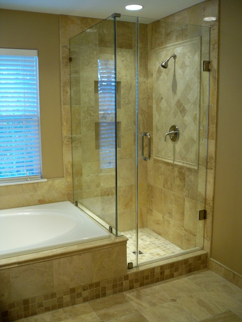 Travertine master bath with medallion accent  Traditional