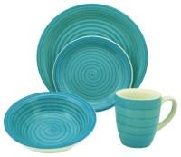 16-Piece Blue Swirl Stoneware Dinnerware Set ...