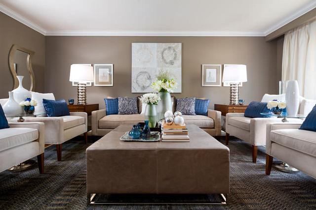 Jane Lockhart Beige & Blue Living Room