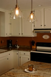 Custom Pendants with with blown glass shades and repro ...