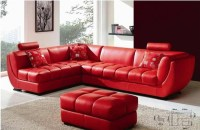 Louella - Cherry Red Leather Sectional Sofa