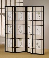 4-Panel Shoji Room Divider Screen w Black Fra - Asian ...