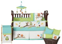 Hooty Turquoise and Lime 9-Piece Baby Crib Bedding Set by ...