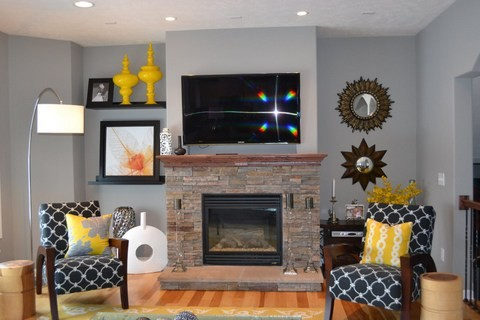 Yellow and Grey Great Room living room eatin kitchen