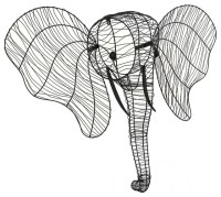 Elephant Head Wall Hanging Metal Wire Wall Sculpture ...