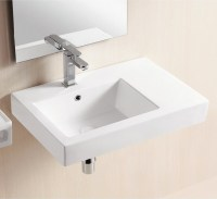 Wall Mounted Ceramic Sink With Counter Space - Modern ...