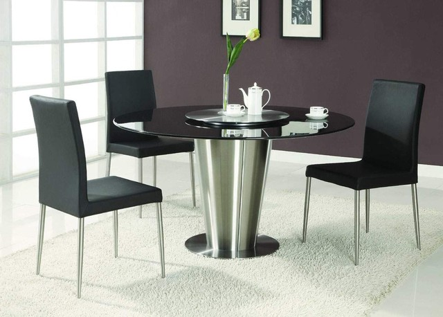 Modern Exclusive Round Marble Top Leather 5 Piece Dining