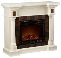 Weatherford Convertible Electric Fireplace, Ivory ...