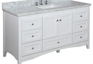 Abbey 60 Inch Single Bathroom Vanity Carrara White