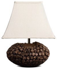 Large Square Bell Shade Country Style Wooden Table Lamp ...