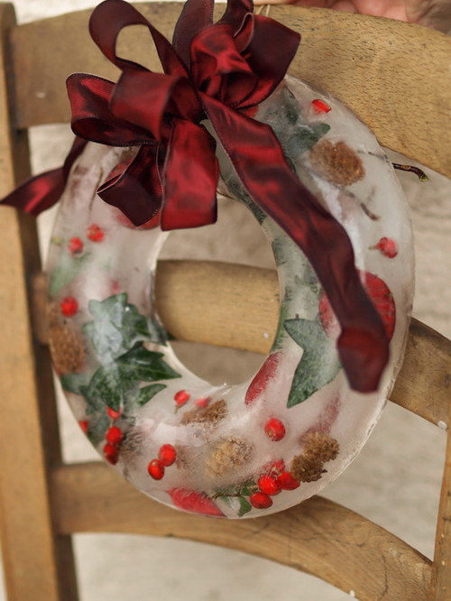 An Ice Wreath with Cranberries and Pine Cones