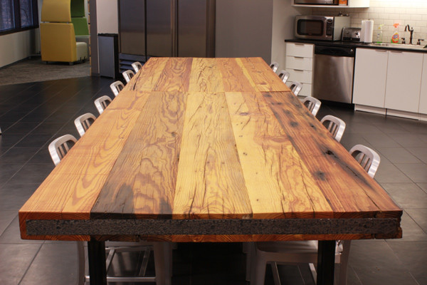 Reclaime Heart Pine Table Top Industrial Dining Tables