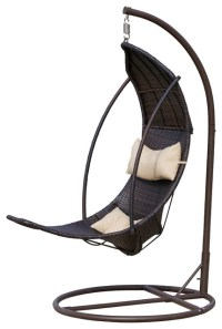 Thompson Outdoor Brown Wicker Swinging Lounge Chair ...