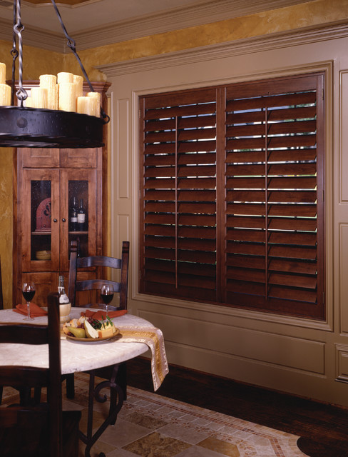 Dark Wood Shutters  Traditional  Window Treatments  phoenix