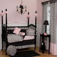 Black and White Damask Crib Bedding - Traditional - Kids ...