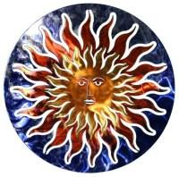 3D Sun Face Metal Outdoor Wall Art - Contemporary ...