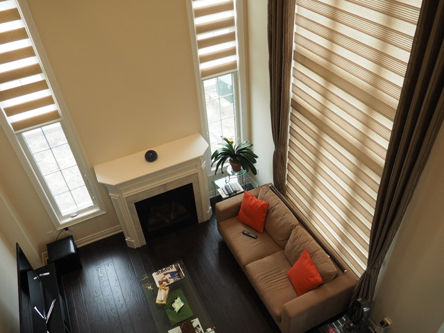 Blinds and Drapes Side panel combinations  Contemporary  toronto  by Trendy Blinds Inc