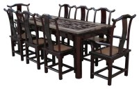Vintage Chinese Rattan Open Carving Panel Center Dinning ...