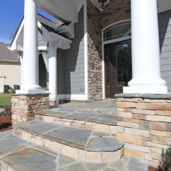 Gray Kitchen Rugs Contemporary Island Flagstone Step Entrance - Transitional Exterior ...