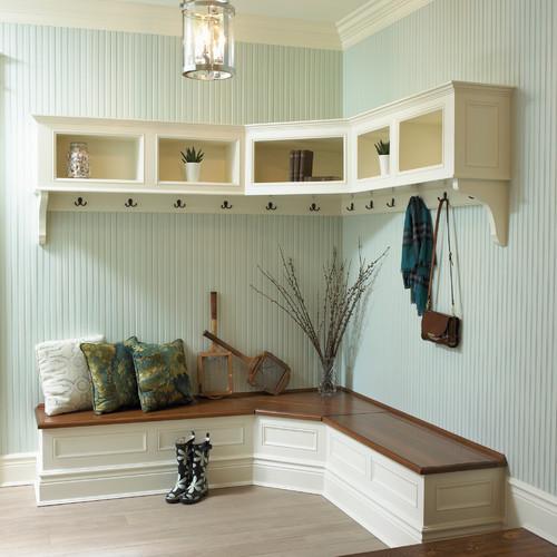 Corner Shelves Foyer White Floating Shelves Mud Room Rain Boots Hooks Plants Throw Pillows Rackets
