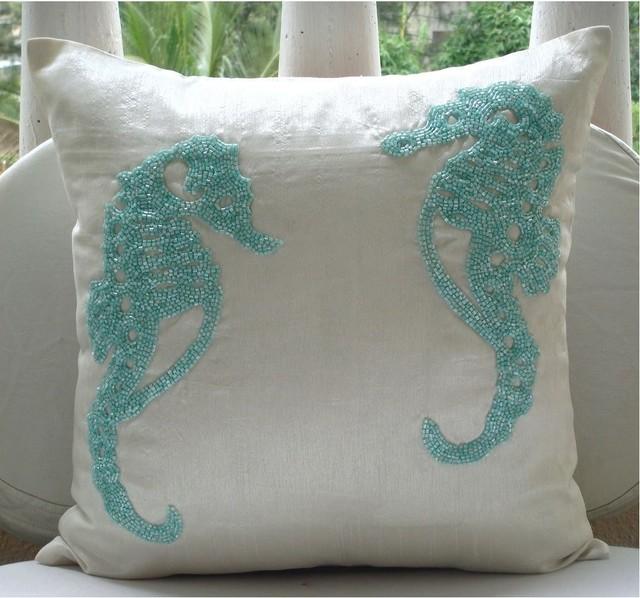 Sea Horse Decorative Pillow Cover Aqua  Tropical