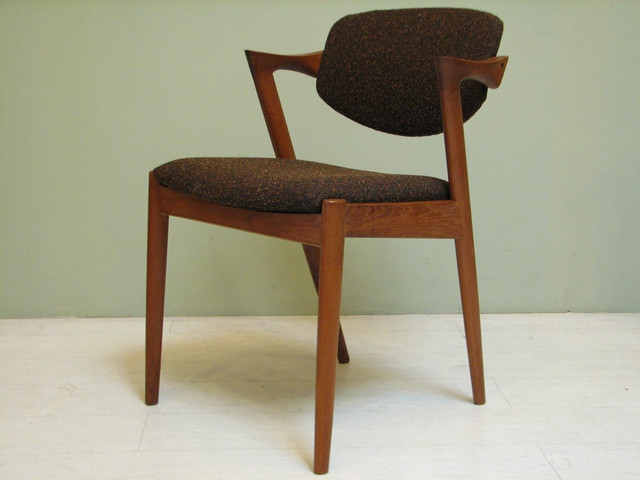 baxton studio modern leather accent chair black windsor dining chairs mid century by danish designer kai kristiansen - los ...