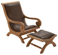 Timeless Wood Leather Chair Ottoman, Set of 2 traditional ...