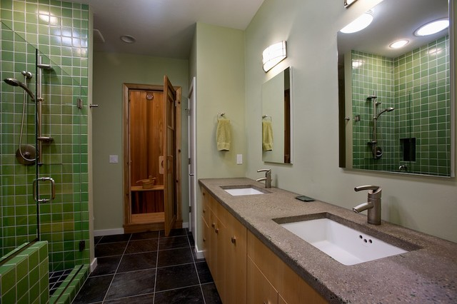 Spalike master suite bathroom with sauna  Contemporary
