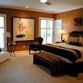 Bedroom cream brown rust and black eclectic bedroom