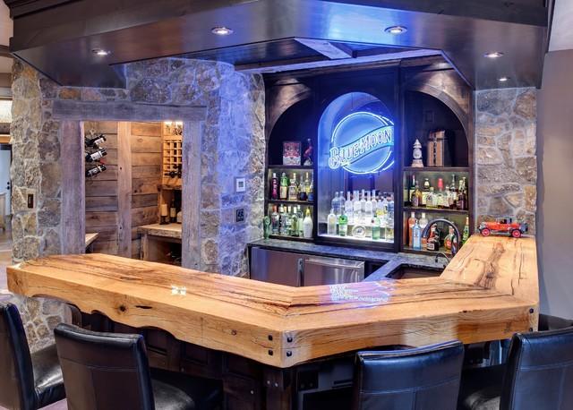 Rustic Bar  Wine Room  Traditional  Home Bar  minneapolis  by Divine Custom Homes