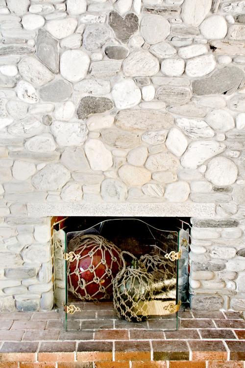 Whitewash Stone Fireplace