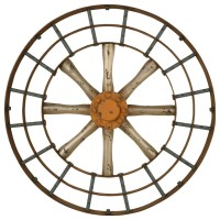 Gun metal silver and copper blue spoked wall art ...