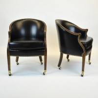 Pair of Black Leather Occasional Chairs w/ Nail Heads ...