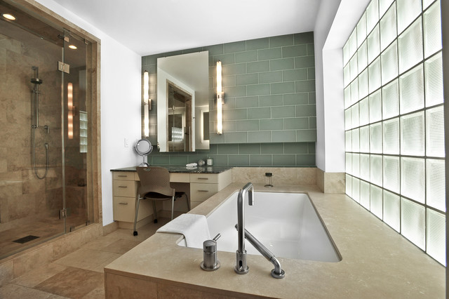 Vertical Vanity Lights  Contemporary  Bathroom  houston