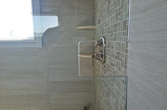 Glass Shower Wall Cutout Eclectic Bathroom New York By CnS Contracting LLC