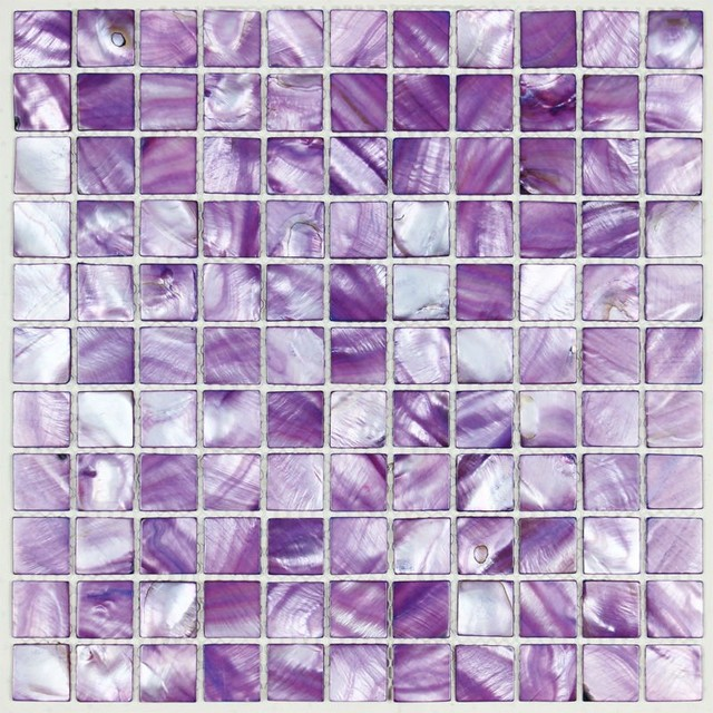 Painted colorful shell tile purple mother of pearl tile for kitchen backsplash  Modern  other