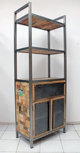 Tall Industrial Style Bookcase With Storage  Industrial