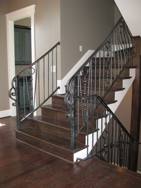 Wrought Iron Interior Railing American Landmark Homes Living   Rod Iron Interior Railings   Iron Work   White   Steel   Route   Staircase