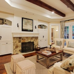 Living Room Built In Decorating Ideas Decor With Dark Brown Leather Sofa Memorial Hamptons Style - Traditional ...