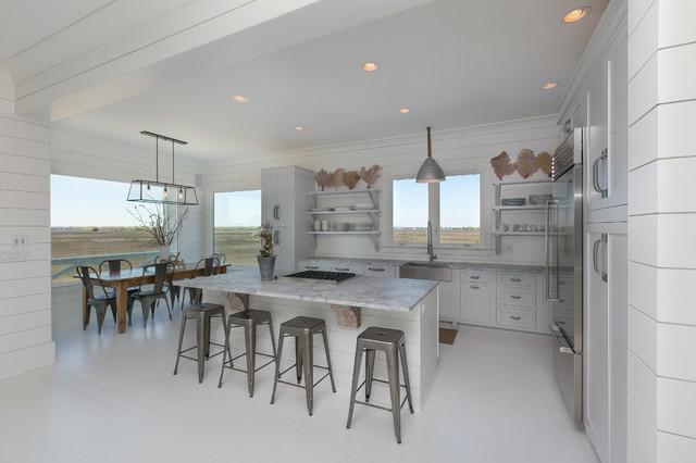 White Kitchen Granite White Countertops White Floor