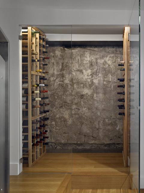 industrial faucet kitchen stainless steel appliance set noe wine cellar modern-wine-cellar